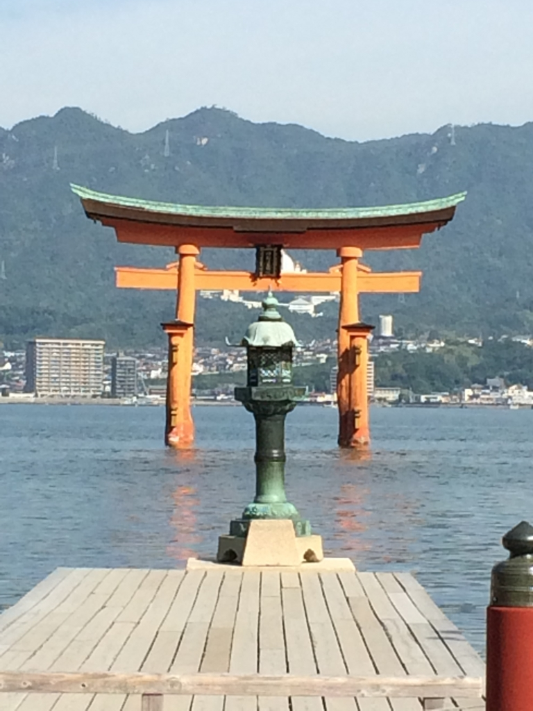 Otorii of Itsukushima-Jinja shrine visited by ANA plane